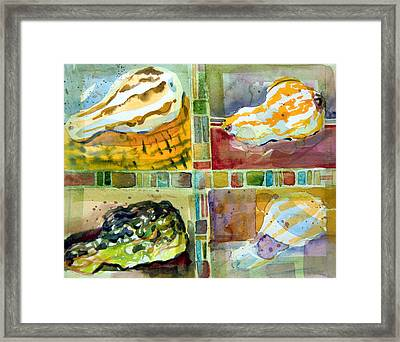 Four Gourds Framed Print by Mindy Newman