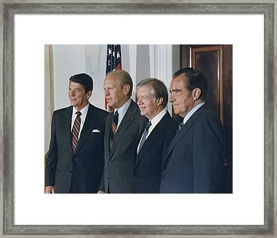 Four Presidents Reagan Ford Carter Framed Print by Everett