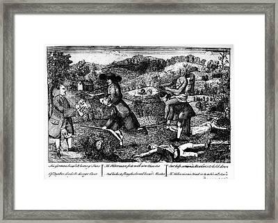 Franklin: Cartoon, 1764 Framed Print by Granger