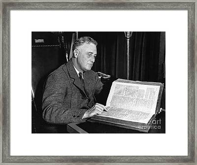 Franklin D. Roosevelt, 32nd American Framed Print by Photo Researchers