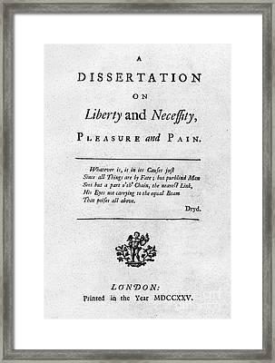 Franklin: Title Page, 1725 Framed Print by Granger