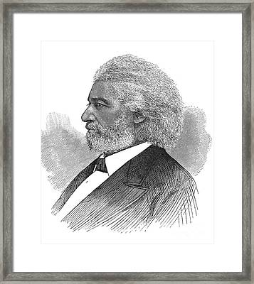 Frederick Douglass (c1817-1895). American Abolitionist. Wood Engraving, American, 1877 Framed Print by Granger