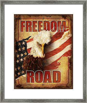 Freedom Road Sign Framed Print by JQ Licensing