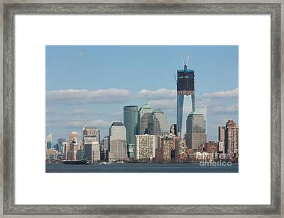 Freedom Tower And Manhattan Skyline II Framed Print by Clarence Holmes