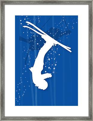Freestyle Skier In Mid Flip Framed Print by Meg Takamura