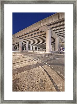 Freeway Overpass Support Structure At Night Framed Print by Eddy Joaquim