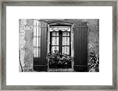 French Restaurant In Monpazier Framed Print by Georgia Fowler