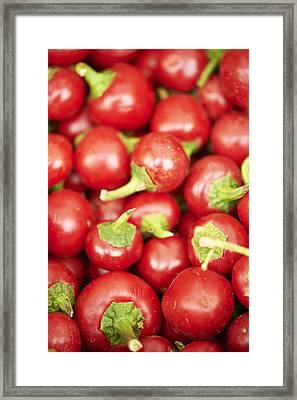 Fresh Cherry Peppers Framed Print by Cameron Davidson