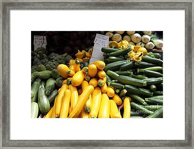 Fresh Zucchinis And Artichokes - 5d17817 Framed Print by Wingsdomain Art and Photography