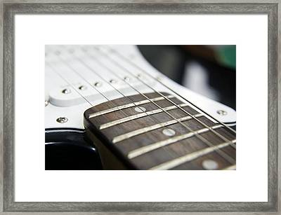 Frets On An Electric Guitar Framed Print by Johnny Greig