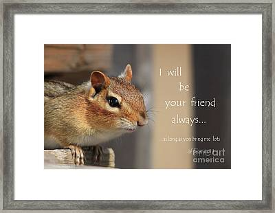 Friend For Peanuts Framed Print by Cathy  Beharriell