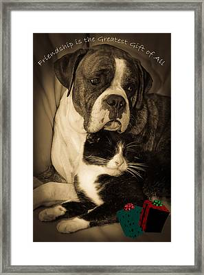 Friendship Is The Greatest Gift Of All Greeting Framed Print by DigiArt Diaries by Vicky B Fuller