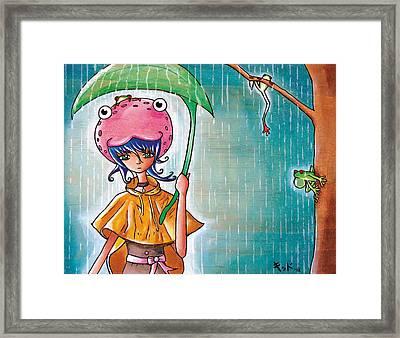 Frog Girl Framed Print by Jen Kiddo