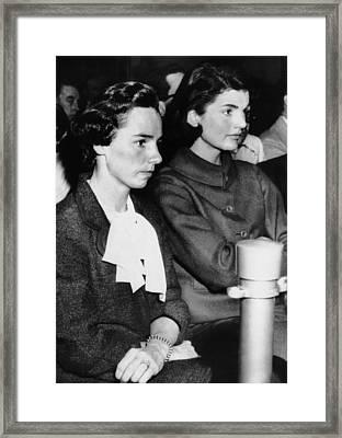 From Left, Ethel Kennedy, Jacqueline Framed Print by Everett