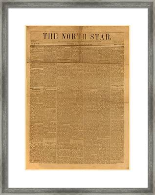 Front Page Of The North Star, June 2 Framed Print by Everett