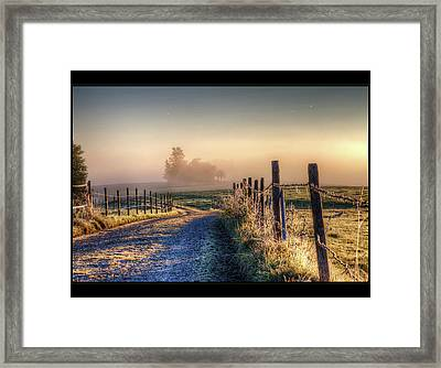 Frosty Fence Framed Print by LASER Lovelyness Amplificated Saturated Editing of Radiance
