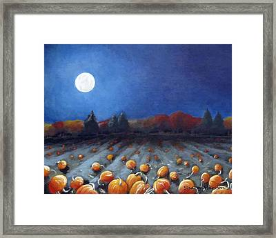 Frosty Harvest Moon Framed Print by Sharon Marcella Marston