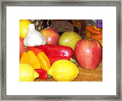 Fruit And Vegetables Framed Print by Laurie Kidd