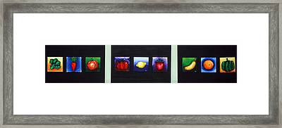 Fruit And Veggies Framed Print by Alison  Galvan