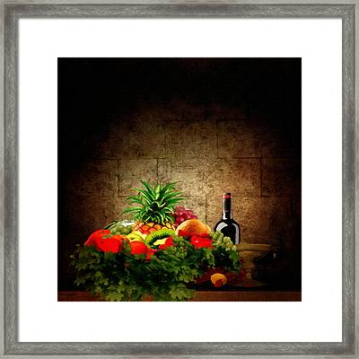 Fruit And Wine Framed Print by Lourry Legarde