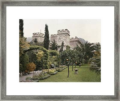 Fruit Trees Grow In The Gardens Of This Framed Print by Maynard Owen Williams