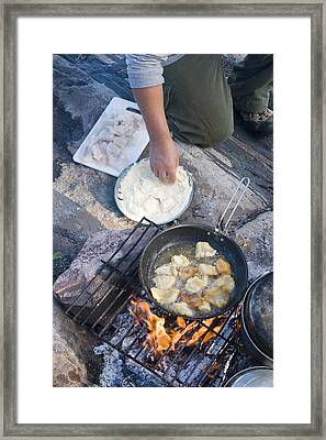 Frying Walleye Fish Fillets Framed Print by Skip Brown