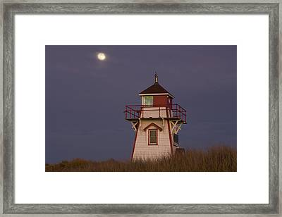 Full Moon And Covehead Lighthouse Framed Print by John Sylvester