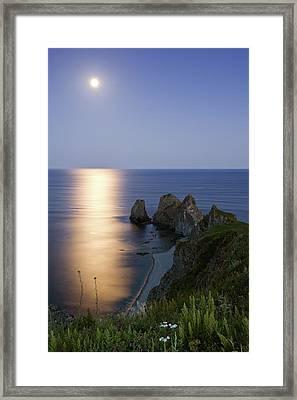 Full Moon On Cape Four Rocks Framed Print by V. Serebryanskiy