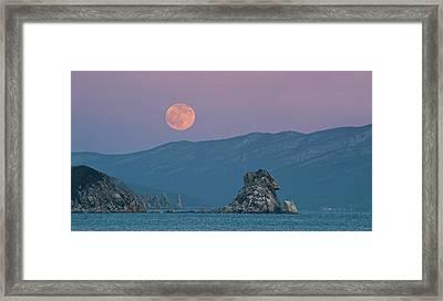 Full Moon Over Cape Laplace. Framed Print by V. Serebryanskiy