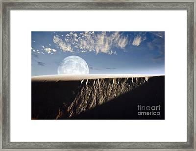 Full Moon Rising Above A Sand Dune Framed Print by Roth Ritter