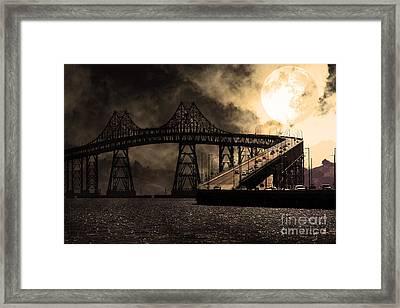 Full Moon Surreal Night At The Bay Area Richmond-san Rafael Bridge - 5d18440 - Sepia Framed Print by Wingsdomain Art and Photography