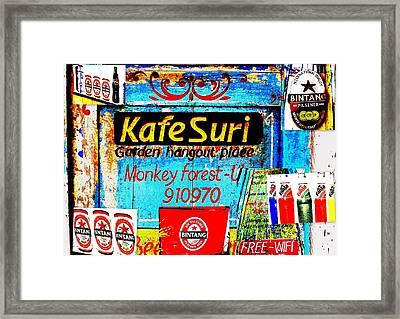 Funky Kafe Suri In Bali Framed Print by Funkpix Photo Hunter