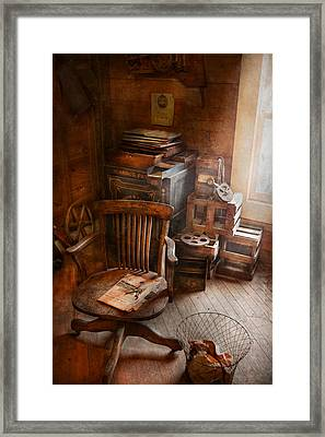 Furniture - Chair - The Engineers Office Framed Print by Mike Savad