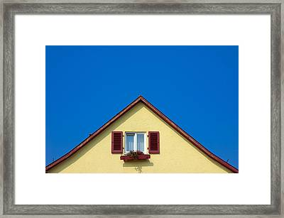 Gable Of Beautiful House In Front Of Blue Sky Framed Print by Matthias Hauser