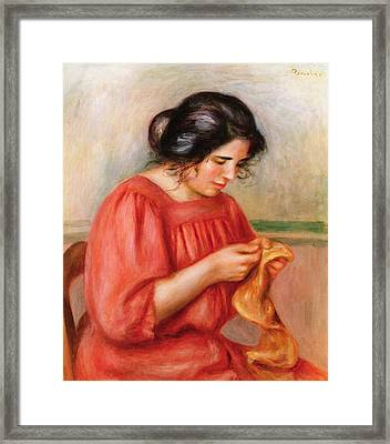 Gabrielle Darning Framed Print by Pierre Auguste Renoir
