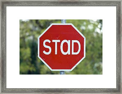 Gaelic Stop Sign Near Doocharry Framed Print by Rich Reid