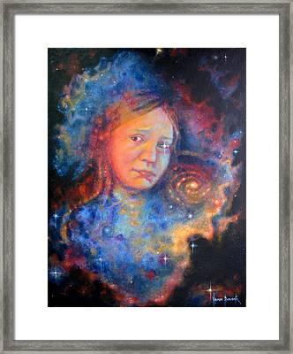 Galaxy Girl Framed Print by Karen Roncari