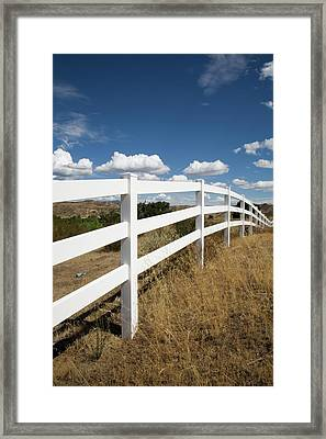 Galloping Fence Framed Print by Peter Tellone