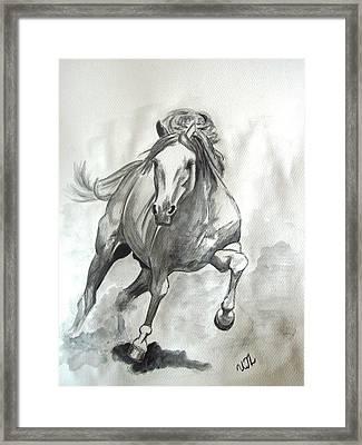 Galloping Horse Framed Print by Ursula  Thuleweit Laranjeiro