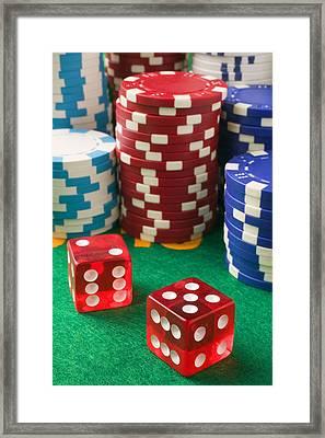 Gambling Dice Framed Print by Garry Gay