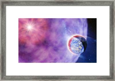 Gamma Ray Burst Hits Earth Framed Print by Detlev Van Ravenswaay