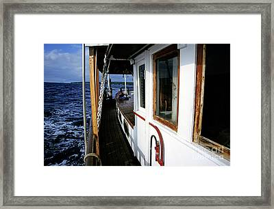 Gangway Of A Cruising Sailboat Framed Print by Sami Sarkis