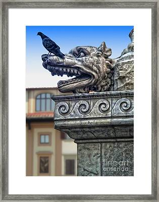 Gargoyle And Pidgeon Framed Print by Gregory Dyer