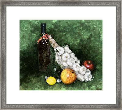 Garlic And The Apples Framed Print by Kelly Rader