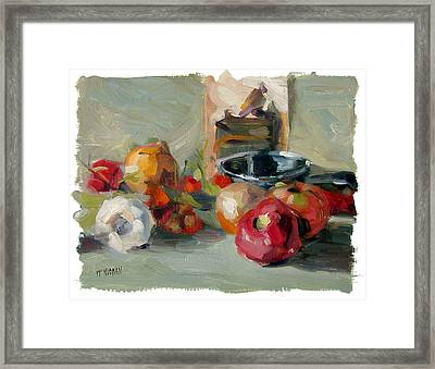 Garlic And Tomatoes Framed Print by William Noonan