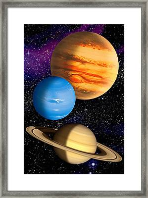 Gas Giant Planets, Artwork Framed Print by David Ducros