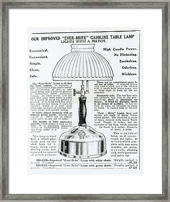 Gas Lamp Ad Framed Print by Omikron