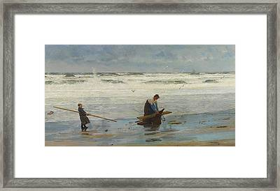 Gathering Driftwood Framed Print by William Lionel Wyllie
