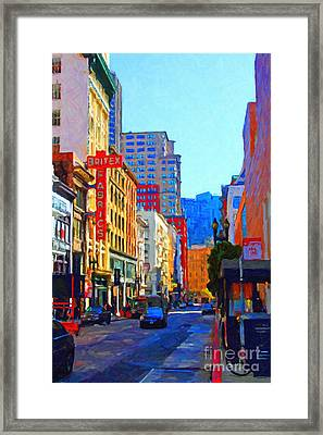 Geary Boulevard San Francisco Framed Print by Wingsdomain Art and Photography
