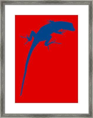 Gecko Silhouette Red Blue Framed Print by Ramona Johnston